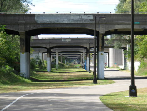 the Midtown Greenway makes the seawall say mercy